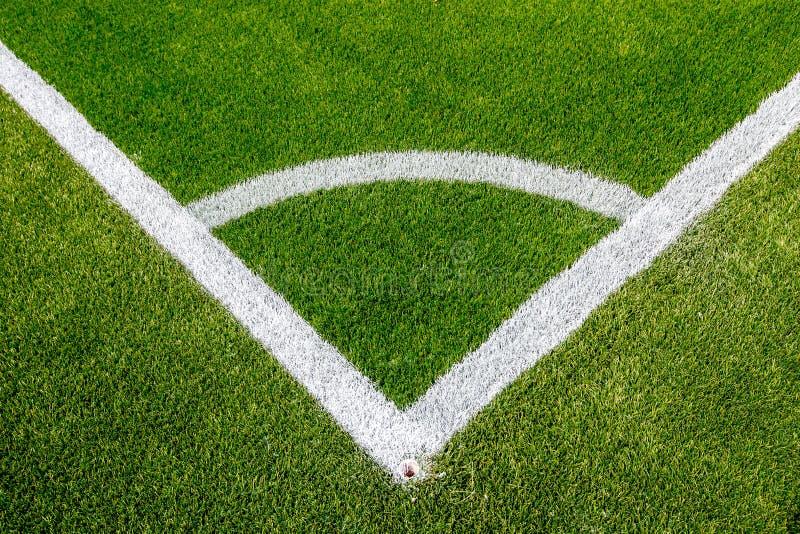 corner chalk line on artifical turf soccer field stock photo
