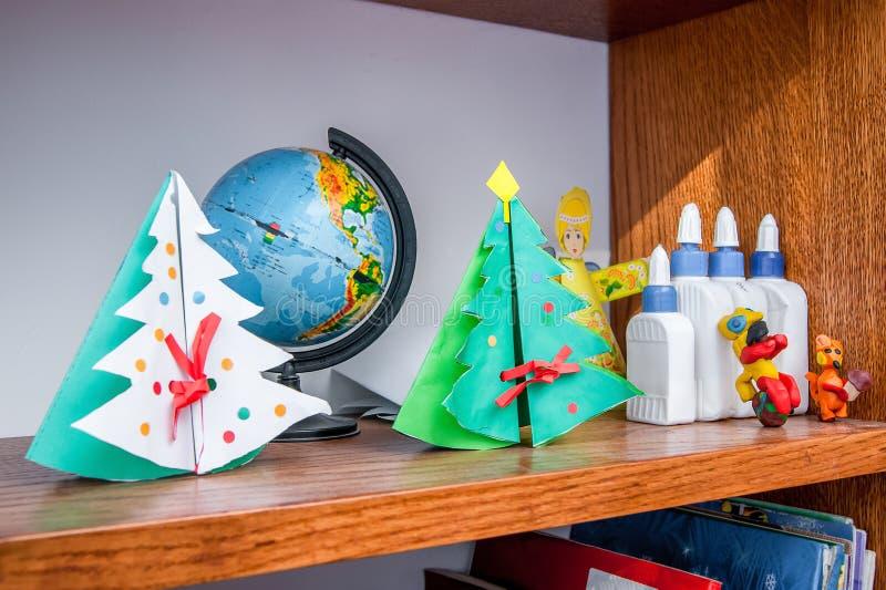 Corner of children`s creativity, fabrication for Christmas holi stock photography