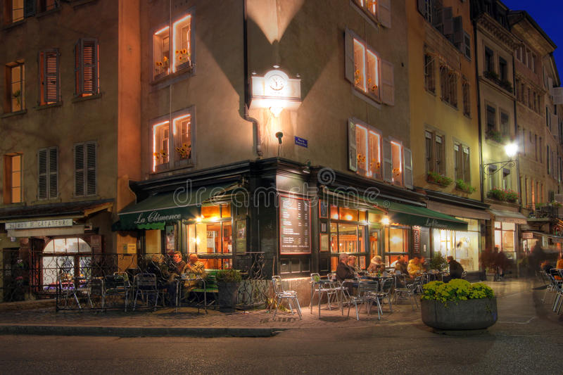 Corner coffee-shop in Geneva, Switzerland stock photo