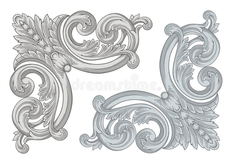 Corner Engraving. Vector Illustration of Corner Engraving for Frames vector illustration