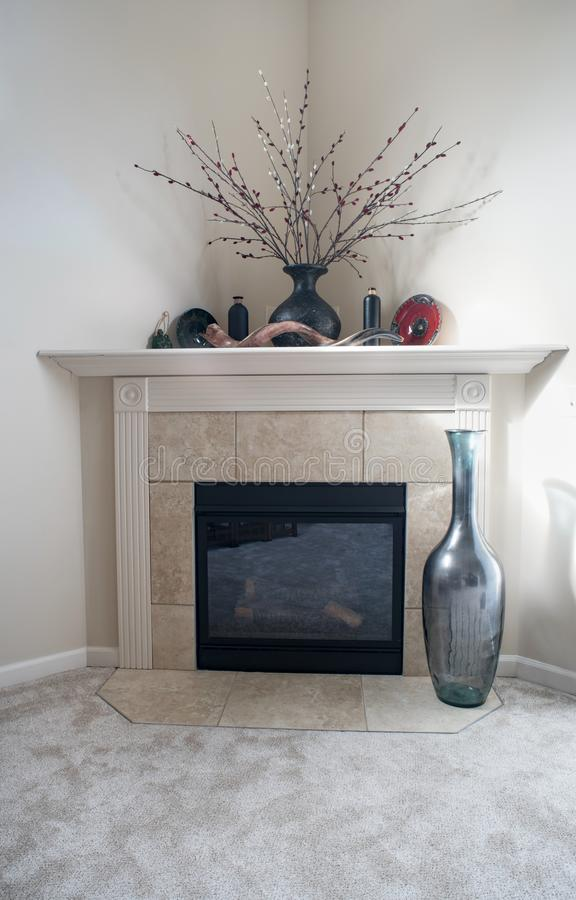 Corner Fireplace With Mirror Editorial Photo Image Of