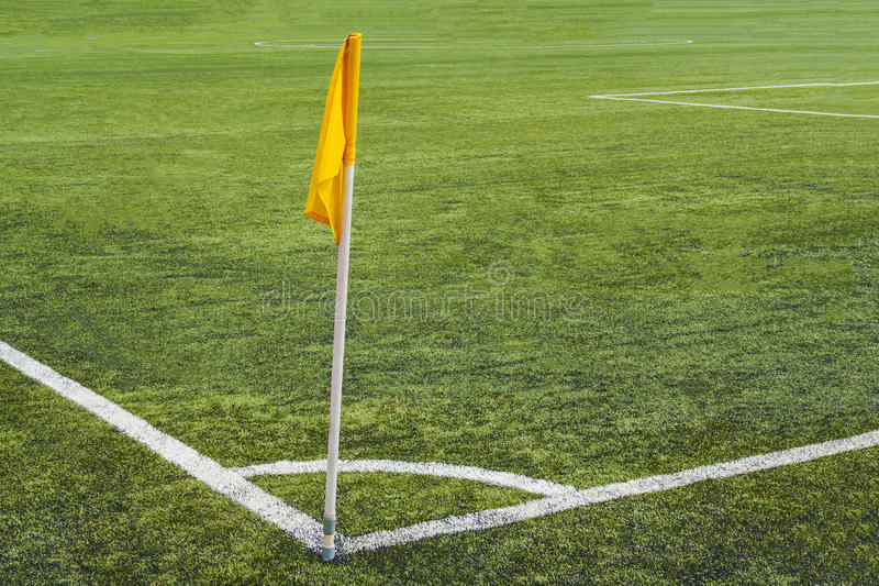 Corner flag on the football field stock images