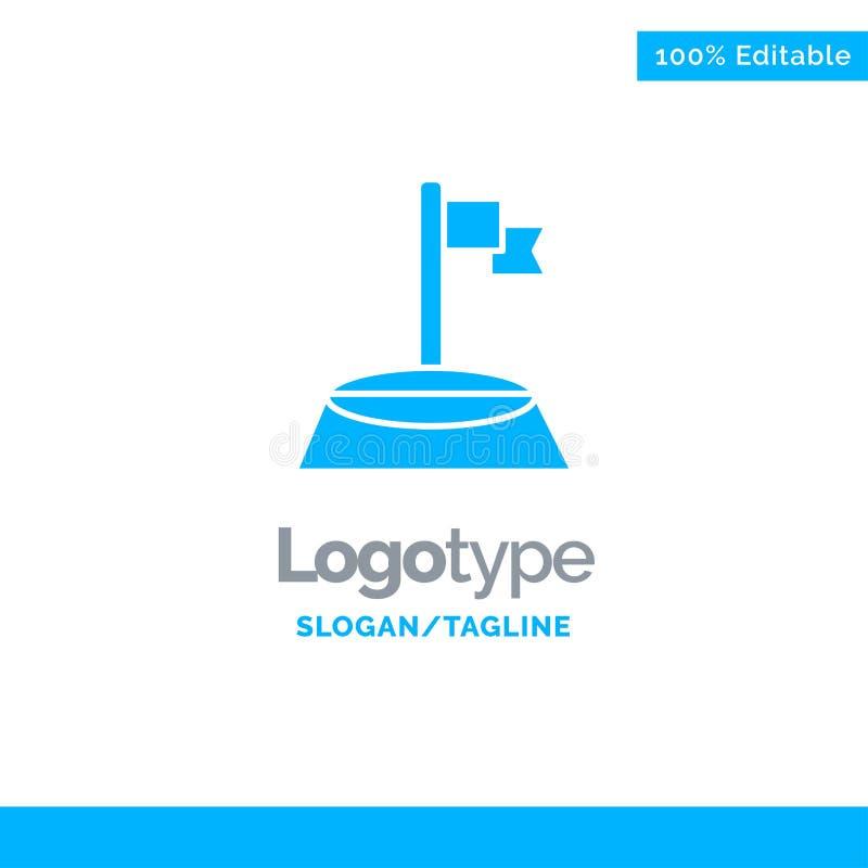 Corner, Flag, Golf, Sport Blue Solid Logo Template. Place for Tagline stock illustration