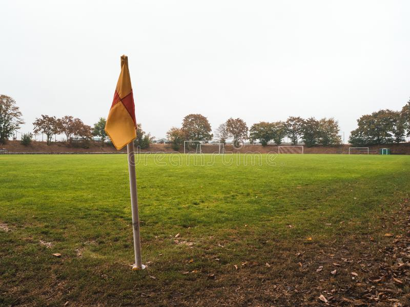 Corner flag of Rural soccer pitch in Germany stock image