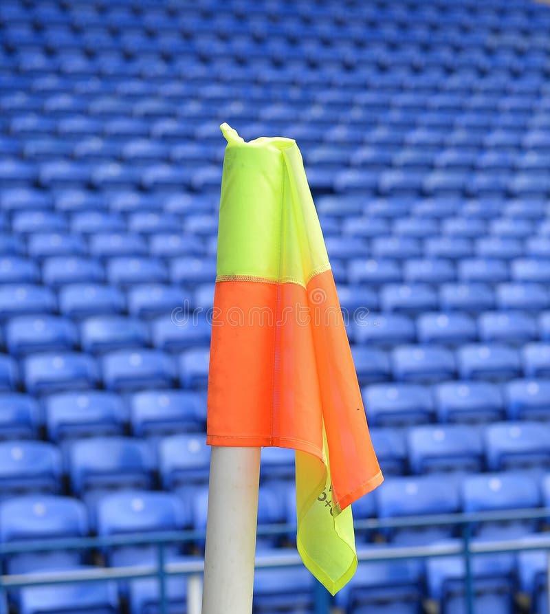 Corner flag in a soccer stadium stock photography