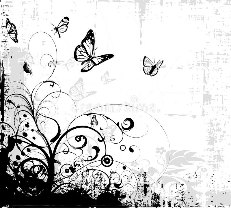 Corner foliage. With a lot of butterflies royalty free illustration