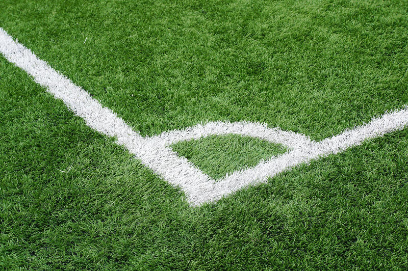 The corner of football field background royalty free stock photo
