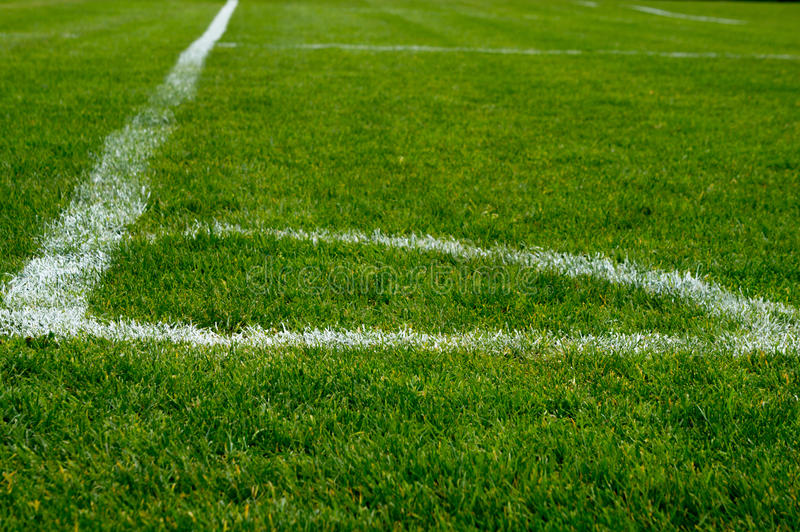 Corner of a football field stock photo