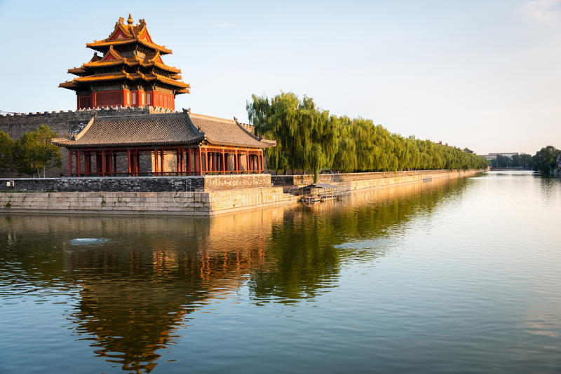 Corner of the Forbidden City at dusk in Beijing stock photography