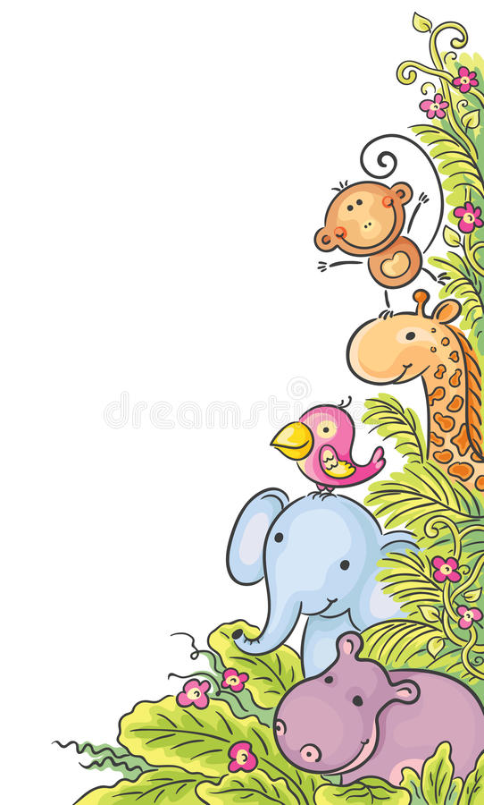 Corner frame with African animals stock illustration
