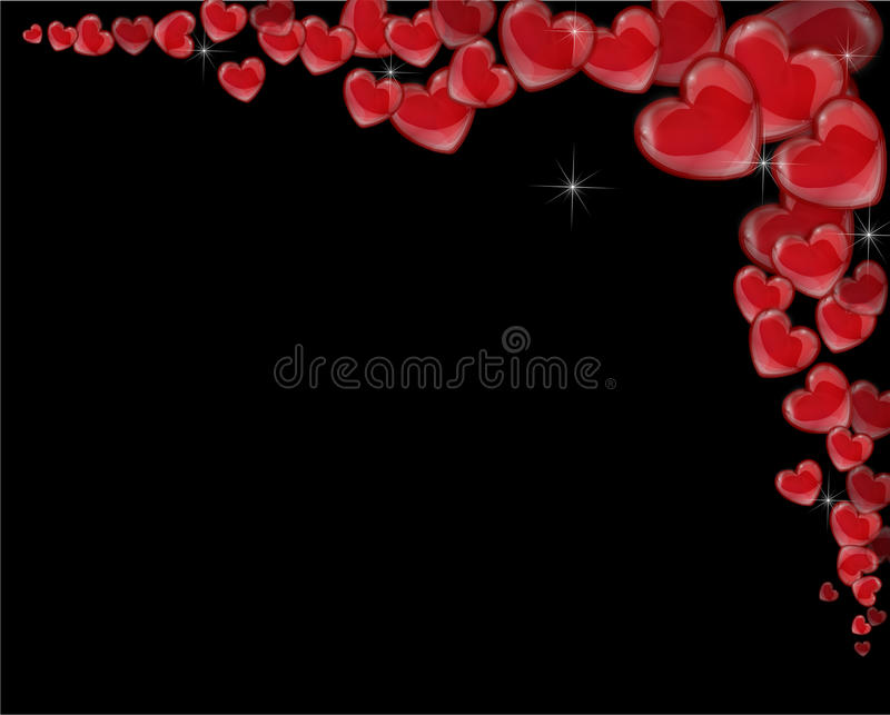 Corner frame of red hearts on a black background for a Valentine's Day stock illustration