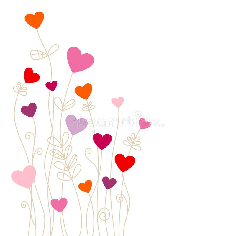 Corner Hearts Flowers Pink Orange Red Purple stock illustration