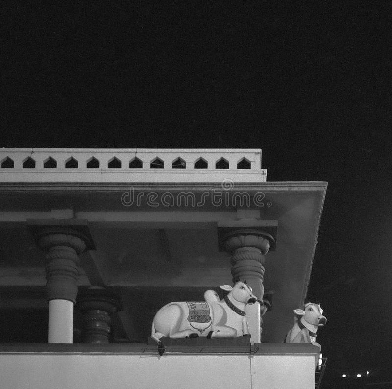 Corner of the Hindu temple in Singapore`s Little India at night shot with black & white analogue film photopgrahy royalty free stock images
