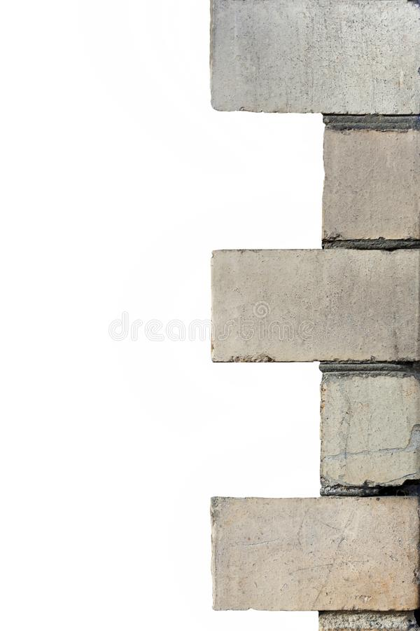 The corner of the house with a decorative corner element made of concrete stock photography