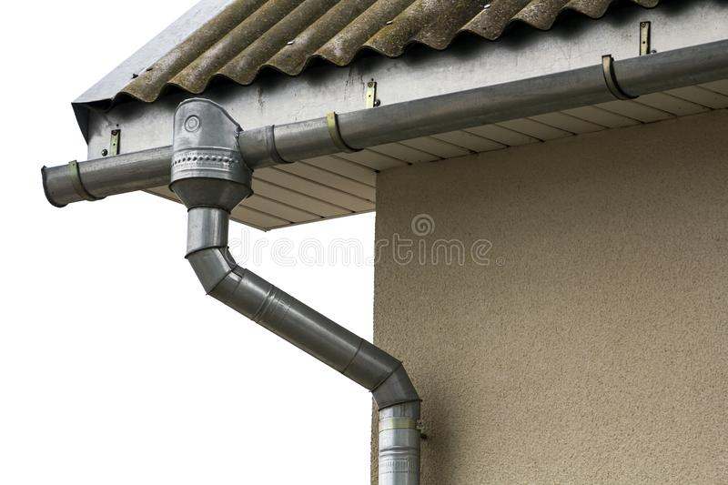 Corner of a house with a steel gutter system.  royalty free stock photography
