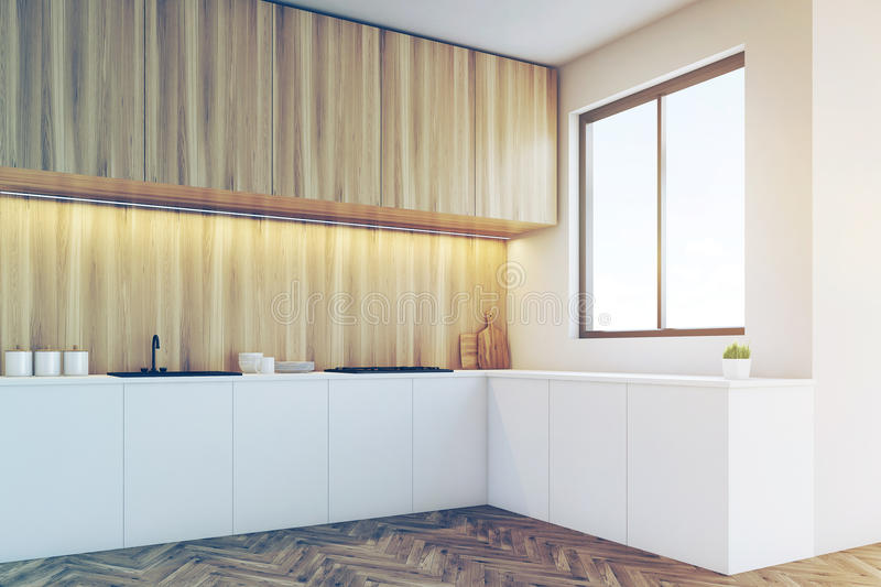 Corner of a kitchen counter top with light wood furniture vector illustration