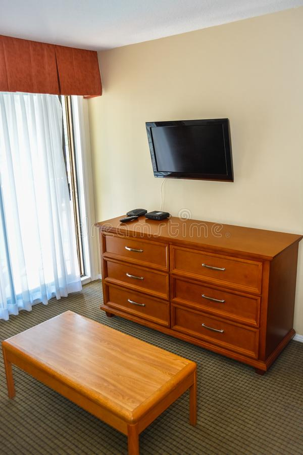 Motel Room Interiors: Old Simple Room Interior With Television TV Stock Image