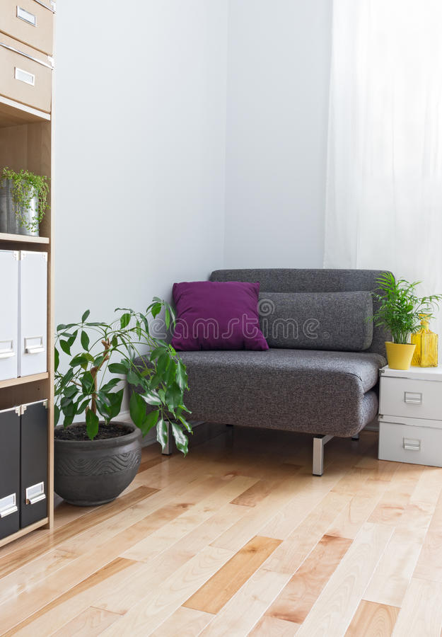 Corner of a living room with gray armchair and plants. Corner of a living room with gray armchair, bookcase and plants stock image