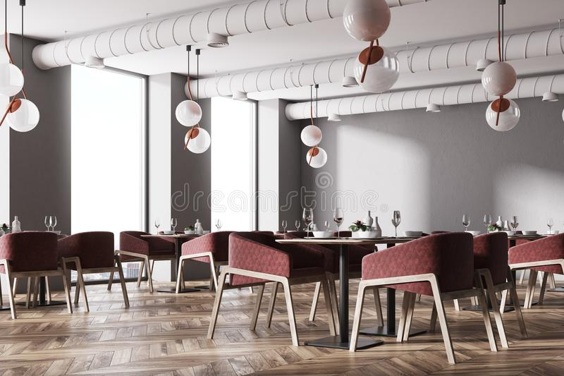 Download Corner Of A Loft Cafe With Red Chairs Stock Illustration    Illustration Of Dining,
