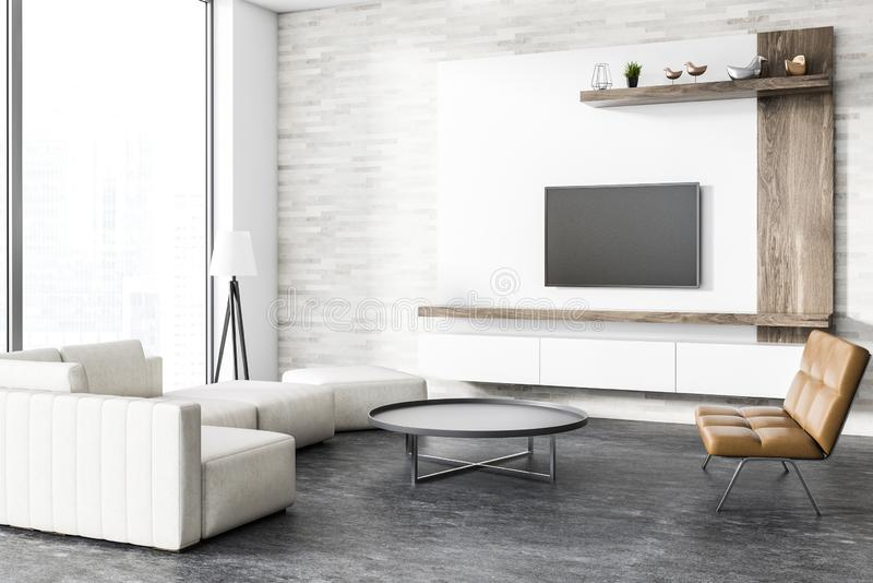 Loft modern living room corner, tv set. Corner of loft living room with concrete floor, white and wooden walls, a sofa and a leather bench. Round coffee table stock illustration