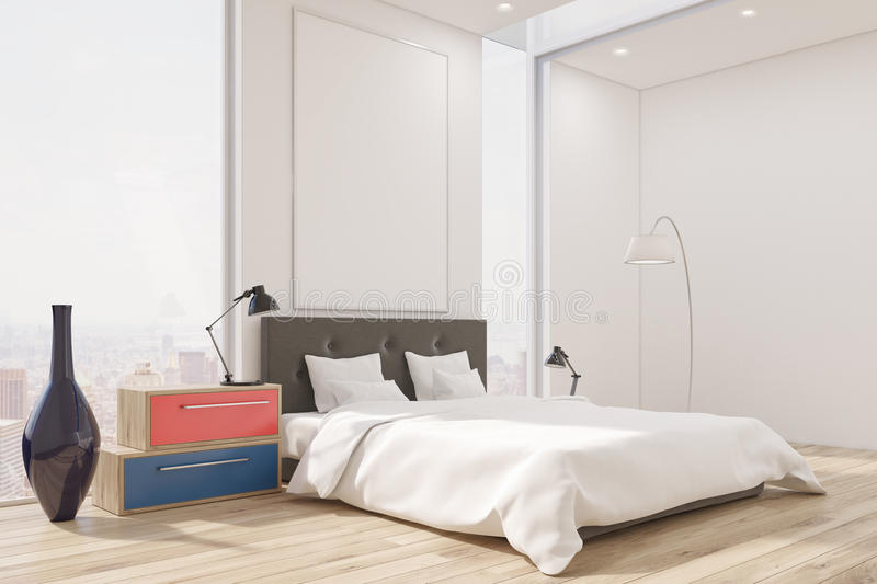 Corner of a master bedroom with a bed, a set of drawers, a tall vase and a large vertical poster. stock illustration