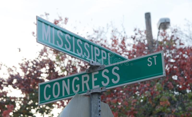 Corner of Mississippi and Congress Streets. Street signs labeling the avenues where Mississippi and Congress streets intersect stock photography