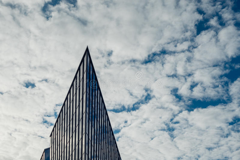 Corner of modern glass and steel building royalty free stock photos