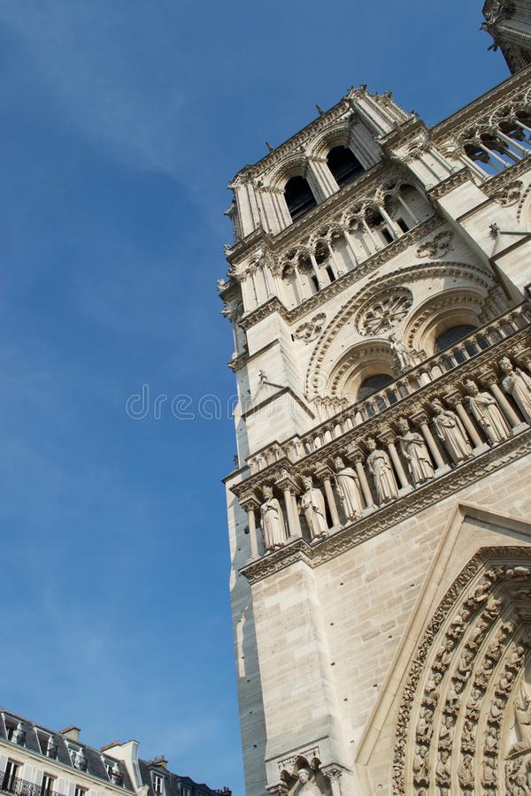 Corner of Notre Dame Cathedral`s bell tower stock image