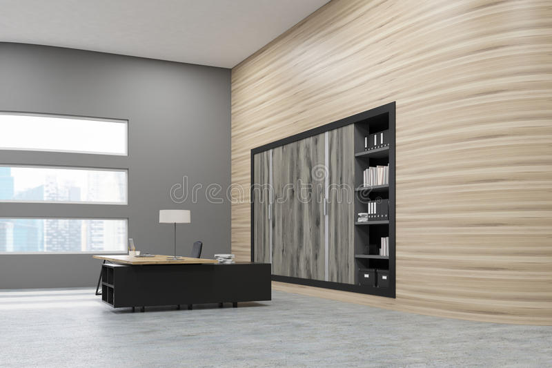 Download Corner Of Office: Wooden Wall Stock Illustration - Image: 83722187