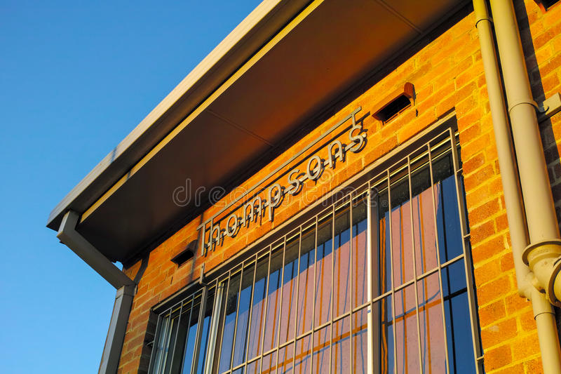Corner of Old Brick Building at Sunset royalty free stock images
