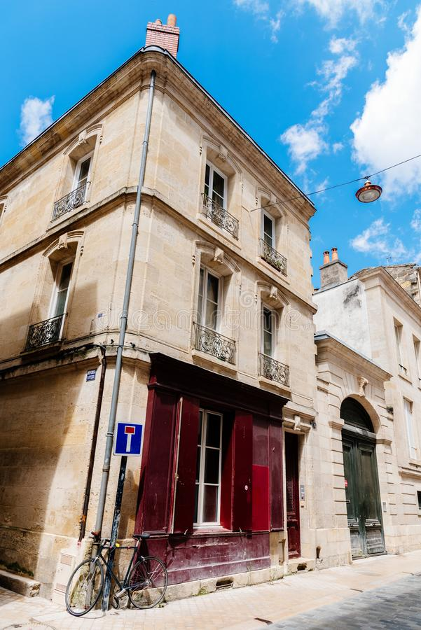 Corner in old narrow street of city centre of Bordeaux stock photos