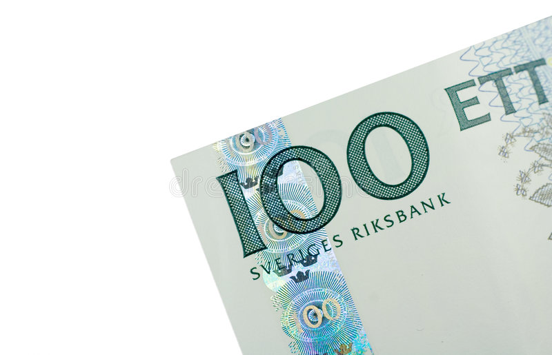 Corner of One Hundred Swedish Kronor banknote royalty free stock image