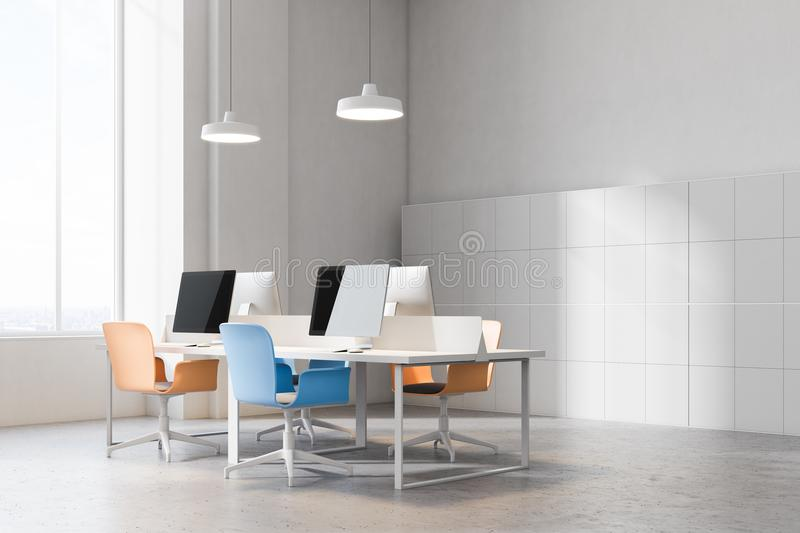 Corner of orange and blue chairs office. Orange and blue chairs open office corner with a conrete floor, rows of computer desks and blue and orange office chairs vector illustration