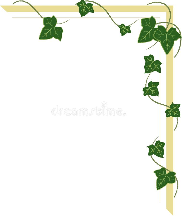Corner ornament with ivy shoots, frame with leaves stock illustration