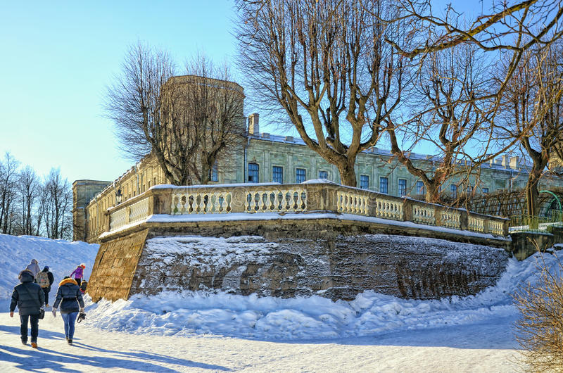 A corner part of the Gatchina Palace in the Palace Park. stock photography