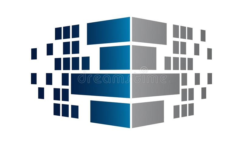 Corner perspective pixel brick wall vector illustration