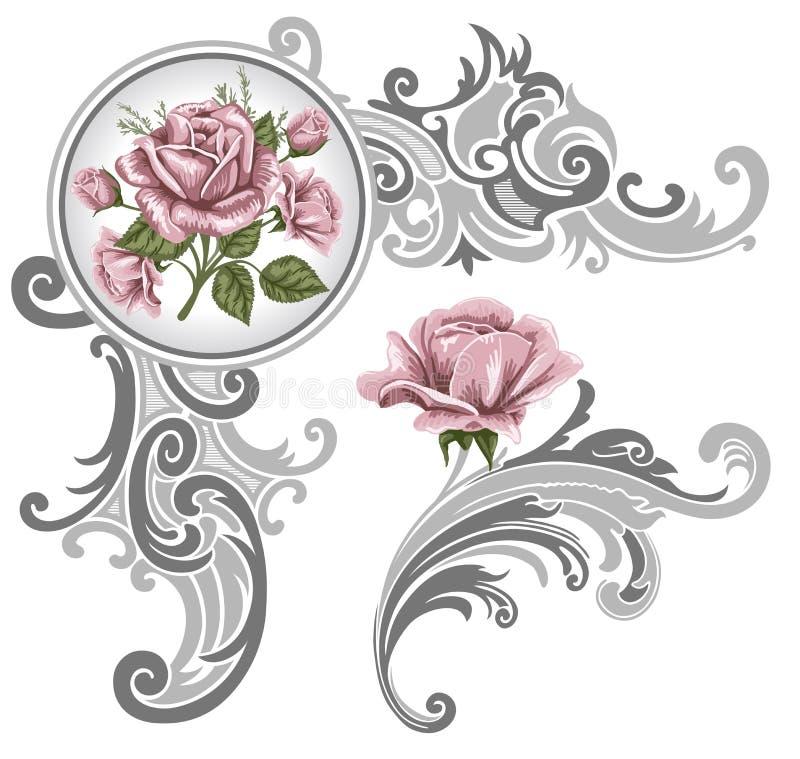 Corner piece ornament of roses stock illustration