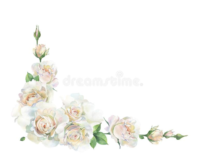 Corner of pink and white roses on a white background royalty free illustration