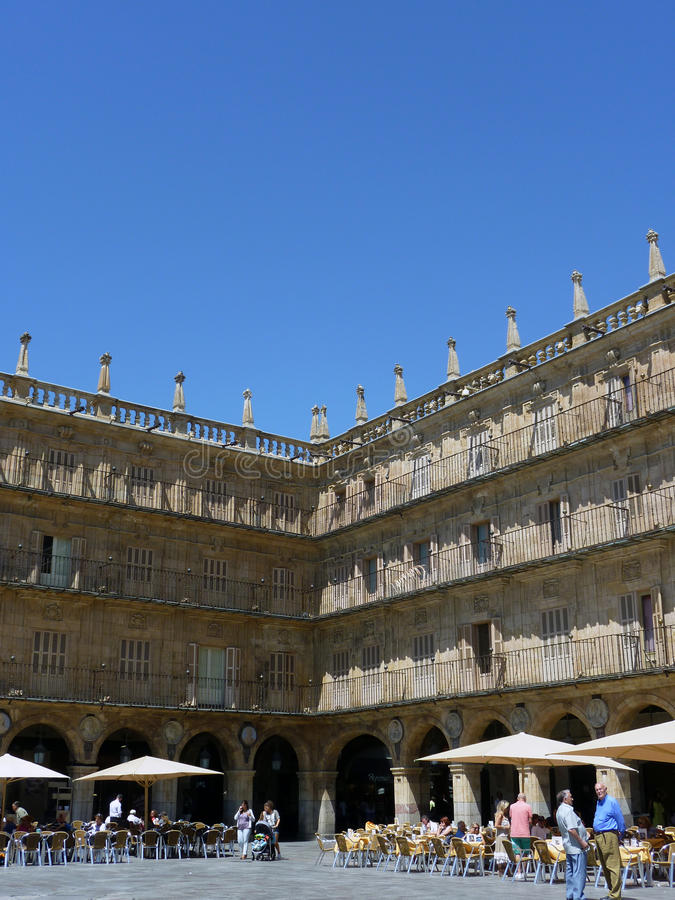 Corner of Plaza Mayor in Salamanca, Spain royalty free stock photography