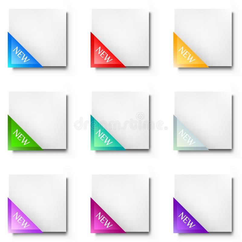 Download Corner Ribbon And Blank Leaf. Colorful Set Stock Vector - Image: 14703613