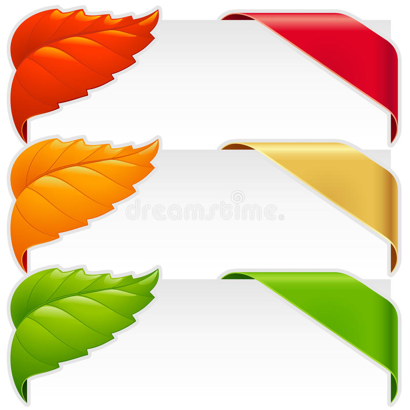 Corner ribbons and fallen leaf vector set. For a new, sale and sold out items vector illustration