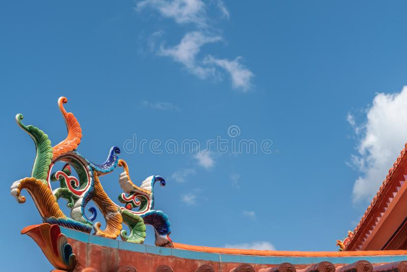 Corner roof decoration at ceremonial hall at Chinese Cemetery in Manila Philippines. Manila, Philippines - March 5, 2019: Chinese Cemetery in Santa Cruz part of royalty free stock photos