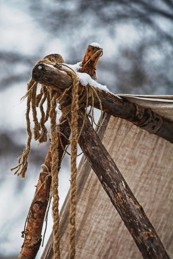 Tent Made Of Animal Hides And Branches Stock Image Image