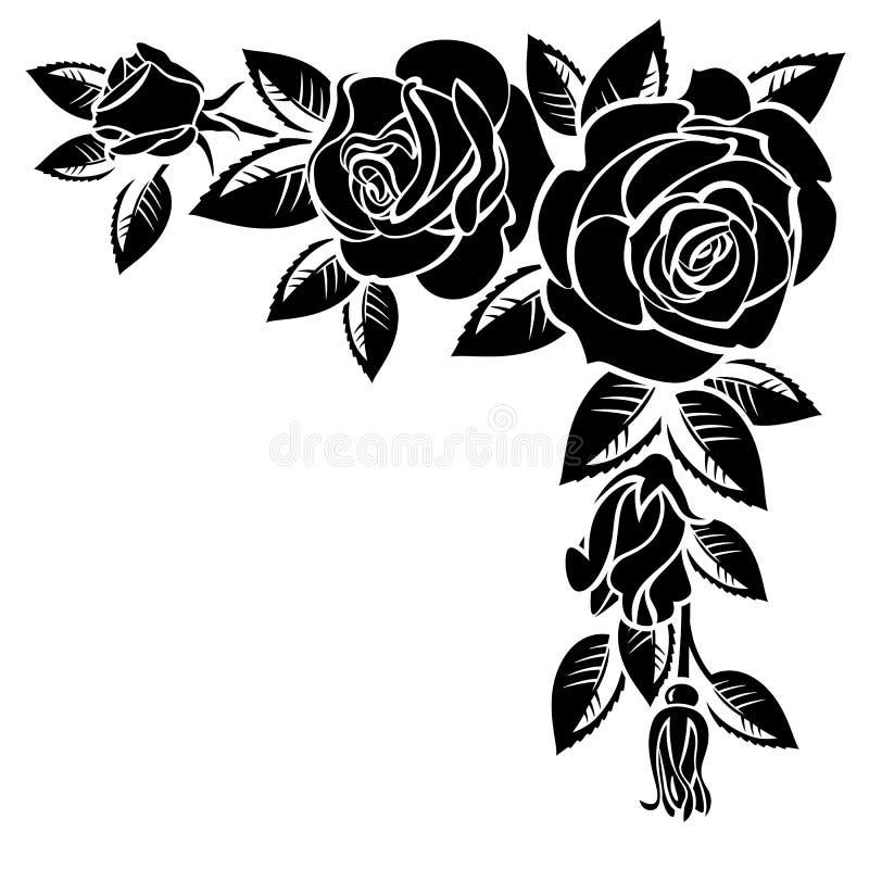 Corner of roses. On a white background vector illustration