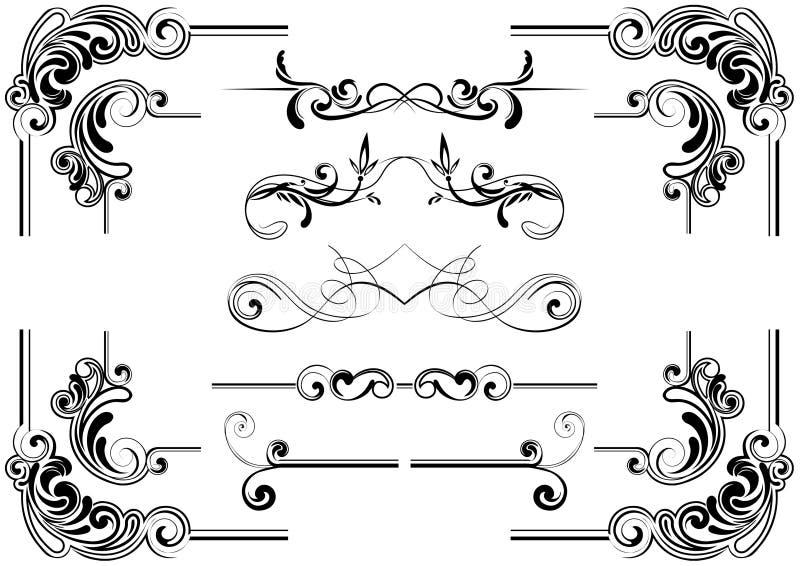 Corner scroll design stock illustration