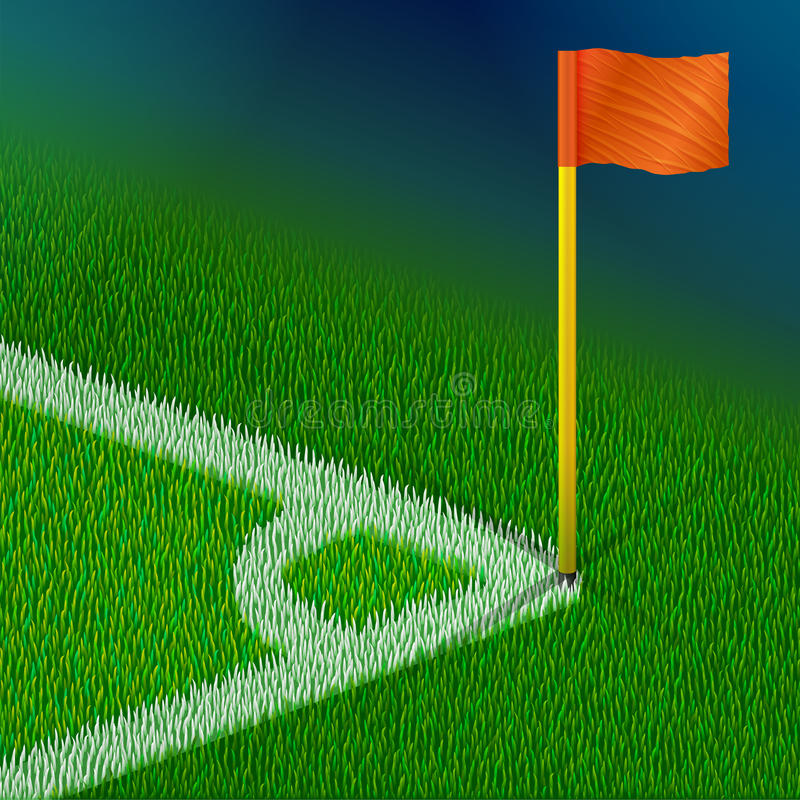 Corner of soccer pitch with flag royalty free illustration