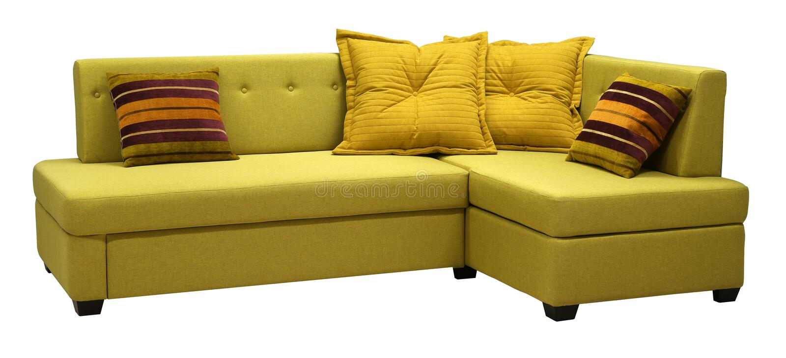 Corner sofa isolated on white background. Including clipping path. Colored decorative pillows royalty free stock photos