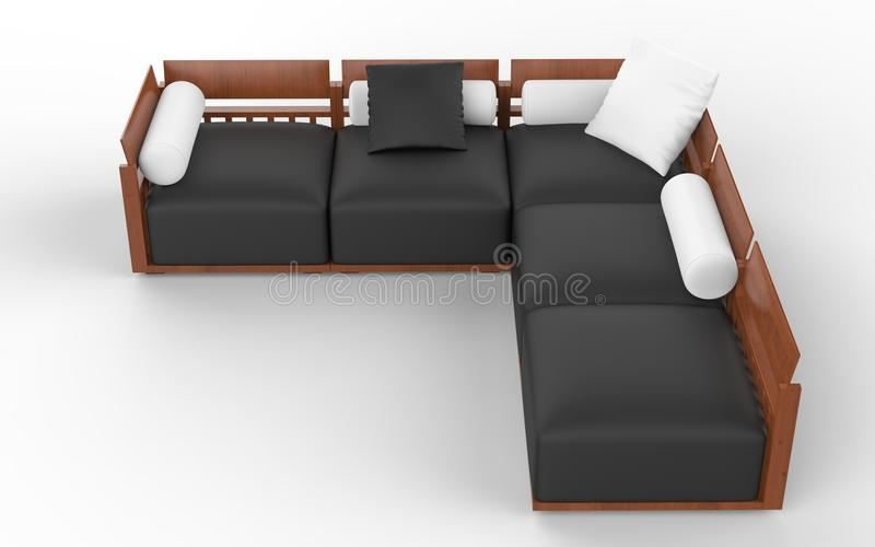 Corner sofa with wooden headrests, black seats and white pillows royalty free illustration
