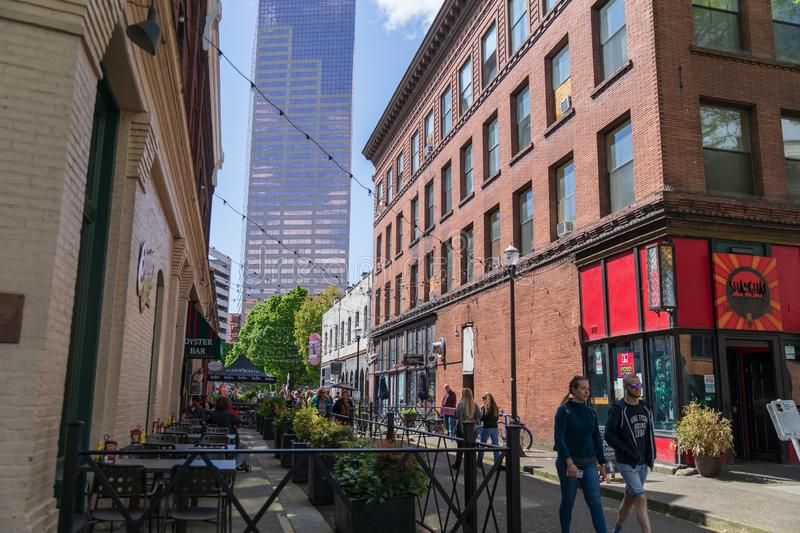 Corner of SW Ankeny St in downtown Portland stock images