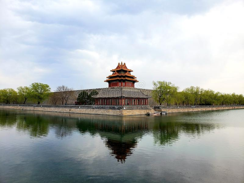 A corner of theImperial Palace. A corner of the Forbidden City Wall stock photo